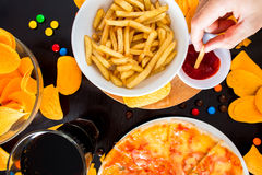 Fast food and unhealthy eating concept - close up of pizza,, fre Royalty Free Stock Photography
