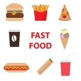 Fast Food Ustalona ikona Barwiąca również zwrócić corel ilustracji wektora zdjęcia royalty free