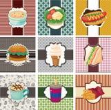 Fast-food van het beeldverhaal kaart Stock Illustratie