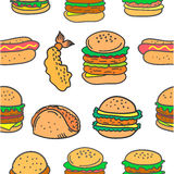 Fast food various of doodles. Vector illustration Stock Photography