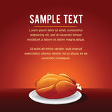 Fast Food Vector Background Template Fried Chicken. Fast Food Vector Background Template. Card with Fried Chicken on Tray Vector Illustration
