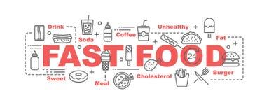 Fast food vector banner stock illustration