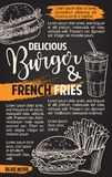 Fast food vector burgers menu sketch poster. Burger and fries menu fast food sketch poster template for restaurant or cinema bistro. Vector fastfood cheeseburger Royalty Free Stock Photos