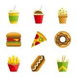 Fast food vector cartoon icon set Stock Photos