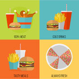 Fast Food Vector Concept banner. Lunch french fries, chicken, do Stock Image