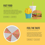 Fast Food Vector Concept. Lunch french fries, chicken, donut, pi Stock Photos