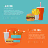 Fast Food Vector Concept. Lunch french fries, chicken, donut, pi Stock Photography