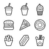 Fast food vector contour icon set Royalty Free Stock Photo