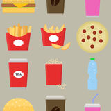 Fast food vector. Fast food seamless pattern background. Stock Photo