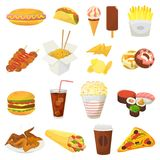 Fast food vector hamburger or cheeseburger with chicken wings and eating junk fastfood snacks burger or sandwich with. Soda drink icecream or donut illustration stock illustration