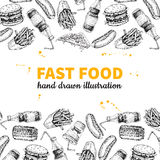 Fast food vector hand drawn frame. Hand drawn junk food menu illustration. Soda, hot dog, pizza, burger and french fries drawing. Great for label, poster Royalty Free Stock Photos