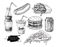 Fast food vector hand drawn set. Engraved style junk food illust. Ration.  Burger, hot dog, pizza, french fries and soda drawing. Great for label, menu, poster Stock Photography
