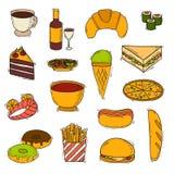 Fast food vector handmade icons stock illustration
