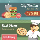 Fast food vector horizontal banner set Royalty Free Stock Images