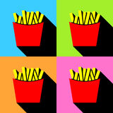 Fast food vector icon. French fries potato in bucket Stock Photo