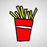 Fast food vector icon. French fries potato in bucket Royalty Free Stock Photography