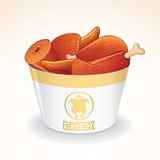 Fast Food Vector Icon. Fried Chicken in Bucket Stock Photo