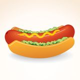 Fast Food Vector Icon Hot Dog with Mustard, Relish Royalty Free Stock Photography