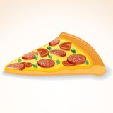 Fast Food Vector Icon. Slice of Pepperoni Pizza Stock Photography