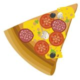 Fast Food Vector Icon. Slice of Pizza. Italian pizza. White background royalty free illustration