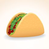 Fast Food Vector Icon. Taco with Beef & Vegetables. Fast Food Vector Icon. Crisp Taco Shell with Beef and Vegetables Royalty Free Stock Photography