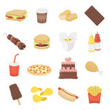 Fast food 16 vector icons set in cartoon style. Royalty Free Stock Image