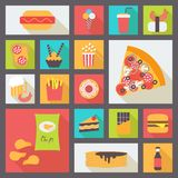 Fast food vector icons set Stock Image