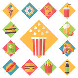 Fast food vector icons set for menu, cafe and Royalty Free Stock Photography