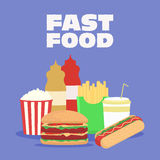 Fast food vector illustration. French fries, hot dog , popcorn , hamburger , cola. Template for menu of cafes and restaurants.  Royalty Free Stock Photo
