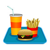Fast Food. A vector illustration of a hamburger and french fries and a soda on a tray Stock Images