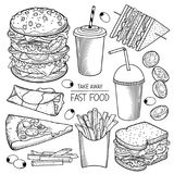 Fast food vector illustrations. Collection of Fast food specialties vector hand drawn illustrations Royalty Free Stock Images