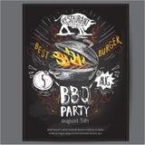 Fast food vector logo design invitation with lettering. hamburger, burger or menu board icon, chalkboard background vector illustration