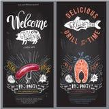 Fast food vector logo design template. hamburger, fish or menu board icon. stock illustration