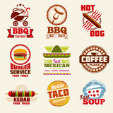 Fast food vector logo, emblems, labels and badges set Stock Images