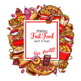 Fast food vector menu cover of restaurant template Stock Images
