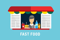 Fast food vector objects set. Water bottle, juice Stock Photo