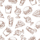 Fast food vector seamless background, menu pattern for your packing design Royalty Free Stock Photos