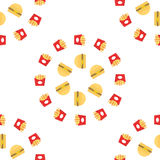 Fast food vector. Seamless pattern background. Burger and fries Royalty Free Stock Image