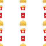 Fast food vector. Seamless pattern background. Tea, fries and burger Stock Photography