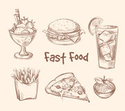 Fast food vector set in hand drawn sketch style Stock Photos