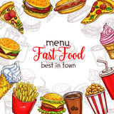 Fast food vector sketch menu template Stock Images