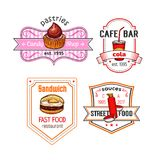 Fast food vector snack meal and desserts icons set. Fast food cafe or bar icons set of fastfood meal and snack. Vector isolated chocolate cupcake or candy pastry Stock Photo