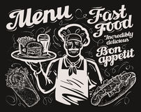 Fast food. vector template chalkboard menu for restaurant, cafe and eatery, diner, bistro. Collection of hand drawn sketch food. vector illustration Royalty Free Stock Image