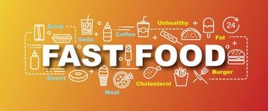 Fast food vector trendy banner royalty free illustration