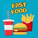 Fast food Vidro da soda com batatas fritas e cheeseburger no fundo azul, vetor ilustração royalty free