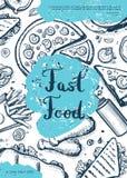 Fast food vintage hand drawn background. Restaurant menu vintage vector illustration with burger, pizza, french fries, hot dog. Cafe price catalog, junk food stock illustration
