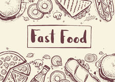 Fast food vintage hand drawn graphic design. Restaurant menu vector illustration with burger, pizza, french fries, hot dog. Cafe price catalog, junk food retro vector illustration
