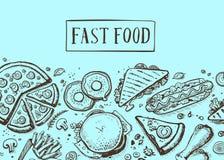 Fast food vintage hand drawn graphic design. Restaurant menu vector illustration with burger, pizza, french fries, hot dog. Cafe price catalog, junk food retro stock illustration
