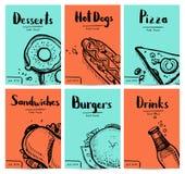 Fast food vintage hand drawn graphic design set. Restaurant menu vector illustration with burger, pizza, dessert, drink, hot dog. Cafe price catalog, junk food royalty free illustration