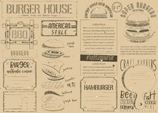 Burger Placemat on Craft Paper Royalty Free Stock Image